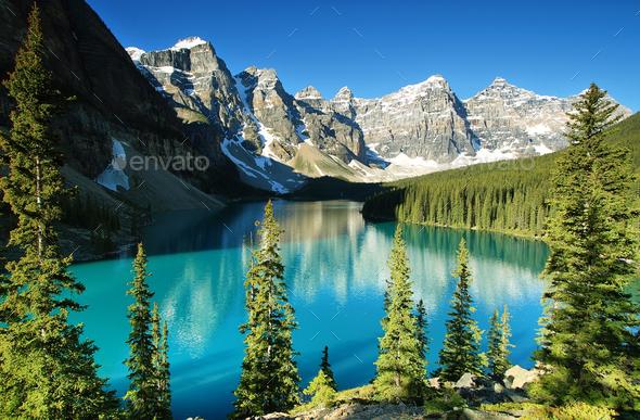 Lake Moraine, Banff national park - Stock Photo - Images