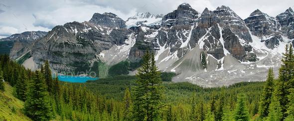 Lake Moraine view panorama, Banff national park - Stock Photo - Images