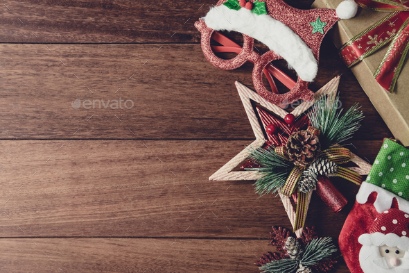 Christmas Wood Background.Christmas Gifts Ornaments And Decorations Collection On Wooden Background