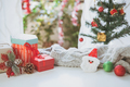 Christmas gifts, ornaments and decorations collection on white wooden table at cozy home - PhotoDune Item for Sale