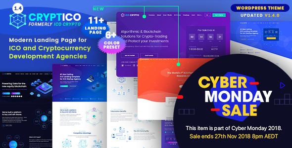 Cryptico - ICO Crypto Landing & Cryptocurrency WordPress Theme - Technology WordPress