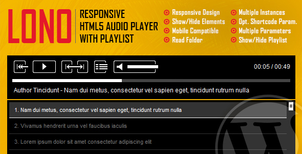 Lono - Responsive HTML5 Audio Player With Playlist WordPress Plugin - CodeCanyon Item for Sale