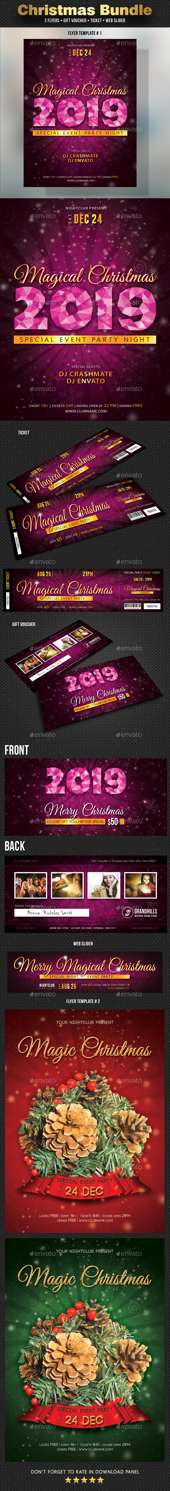 5 Christmas Flyer Voucher Ticket Slider Bundle - Print Templates