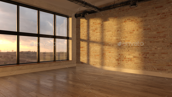 Interior empty room sunset 3D rendering - Stock Photo - Images