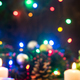 Christmas background. Wooden board over blurred holiday lights a - PhotoDune Item for Sale