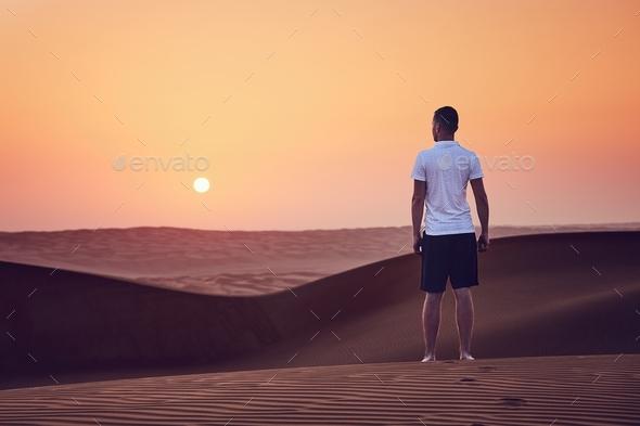 Sunrise in desert - Stock Photo - Images