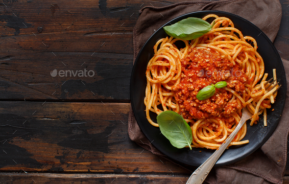 Spaghetti pasta with bolognese sauce - Stock Photo - Images