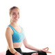 Young happy woman doing yoga sitting meditation. Healthy lifesty - PhotoDune Item for Sale