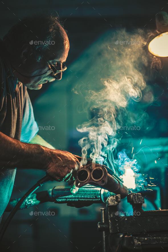 Craftsman weld steel - Stock Photo - Images