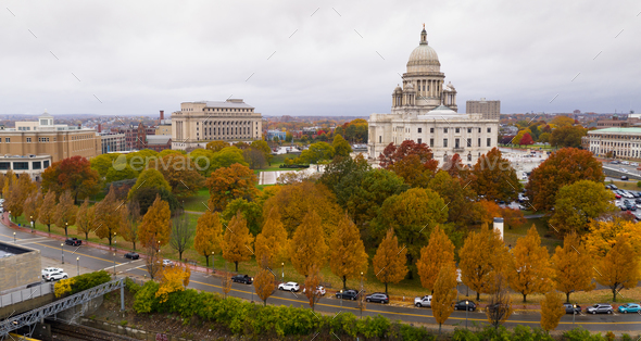 Providence Rhode Island Fall Color Trees Changing Capitol State - Stock Photo - Images