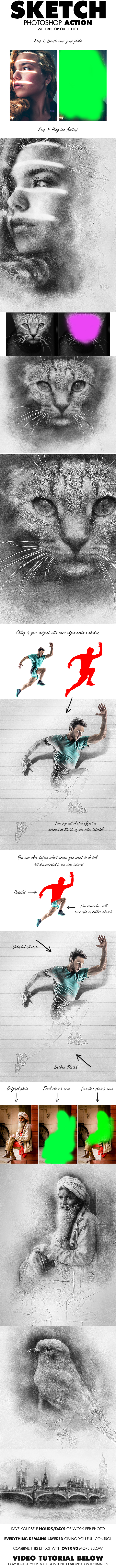 Sketch Photoshop Action (With 3D Pop Out Effect) - Photo Effects Actions
