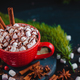 Christmas cocoa header with marshmallows, chocolate crumbs, and syrup. Large coffee cup with - PhotoDune Item for Sale