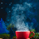 Christmas hot drink with rising steam, cinnamon, and star-shaped cookies. Large coffee cup with - PhotoDune Item for Sale