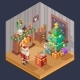 New Year Isometric Room Fireplace Christmas Tree - GraphicRiver Item for Sale