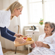 Free Download A health visitor bringing breakfast to a sick senior woman lying in bed at home. Nulled
