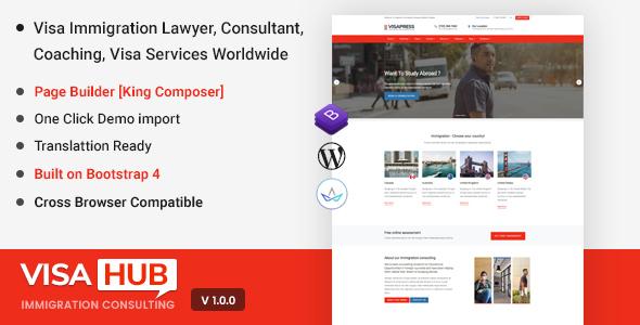 VisaHub - Immigration Consulting WordPress Theme - Business Corporate