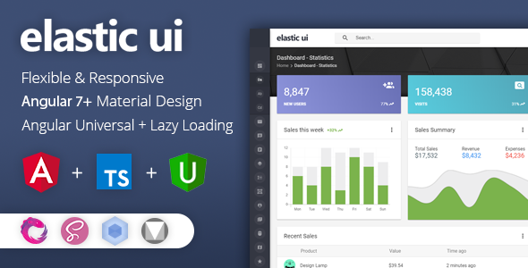 elastic ui - Angular 7 Material Design & Redux Admin Template