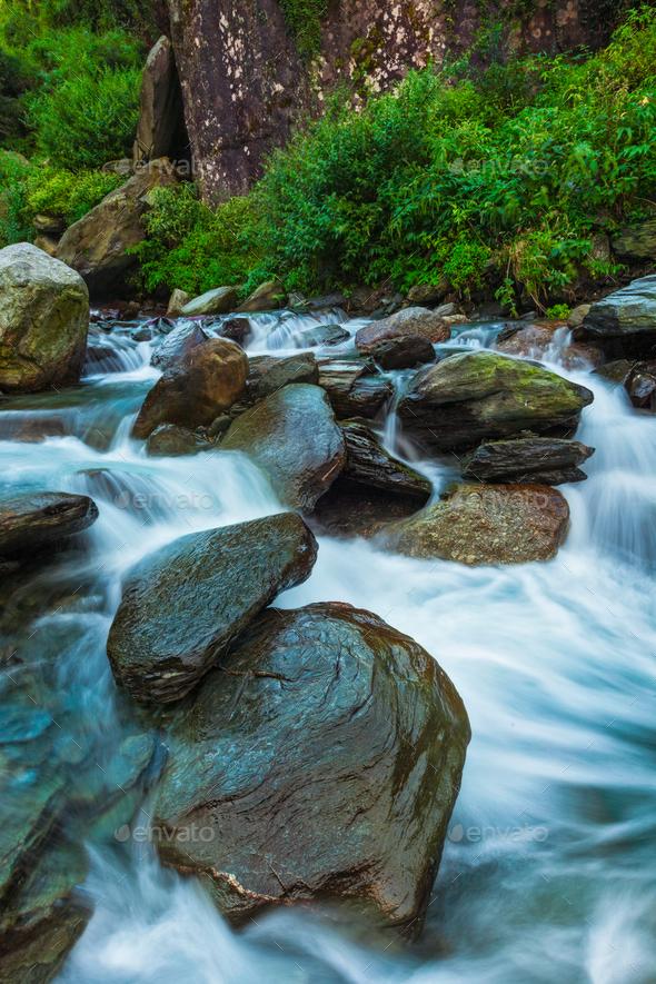 Bhagsu waterfall. Bhagsu, Himachal Pradesh, India - Stock Photo - Images