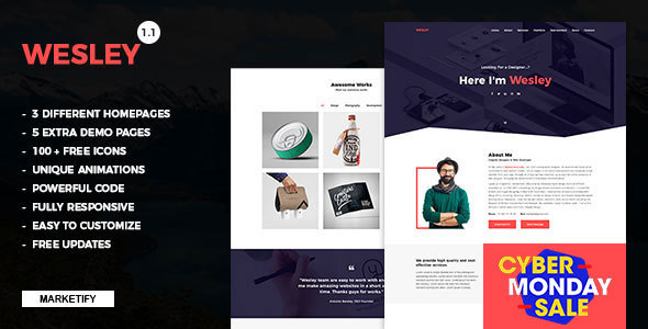 Wesley - Personal Portfolio Template - Virtual Business Card Personal