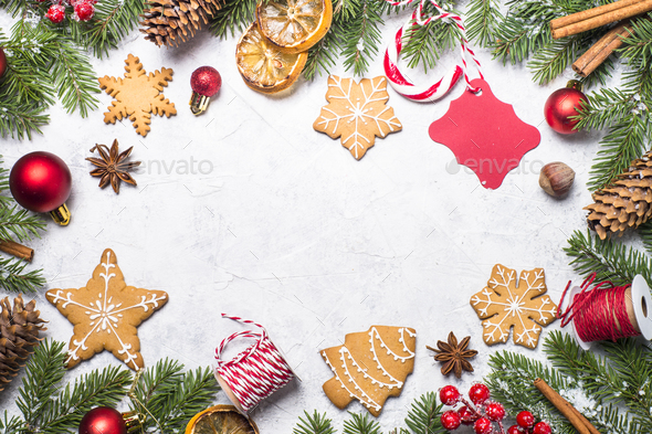 Christmas gingerbread and christmas decorations - Stock Photo - Images
