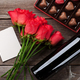 Red roses, wine bottle and chocolate box - PhotoDune Item for Sale
