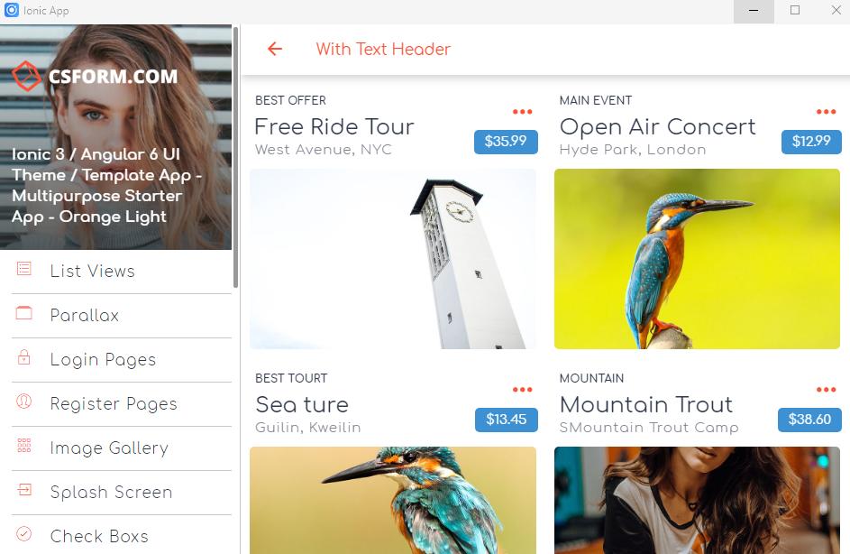 Ionic 3 / Angular 6 UI Theme / Template App - Multipurpose Starter App -  Orange Light