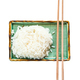 boiled rice and chopsticks on green plate isolated - PhotoDune Item for Sale