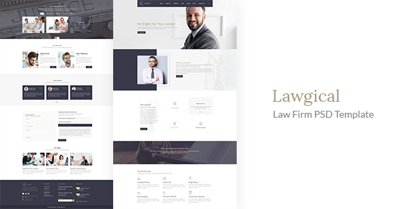 Lawgical - Law Firm, Law Agency, Lawyer, Attorneys PSD Template