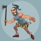 Cartoon Man in a Gladiator Costume with an Ax - GraphicRiver Item for Sale