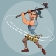 Cartoon Man in a Gladiator Suit Swings an Ax - GraphicRiver Item for Sale