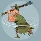 Cartoon Man in Medieval Clothes Swings a Mace - GraphicRiver Item for Sale