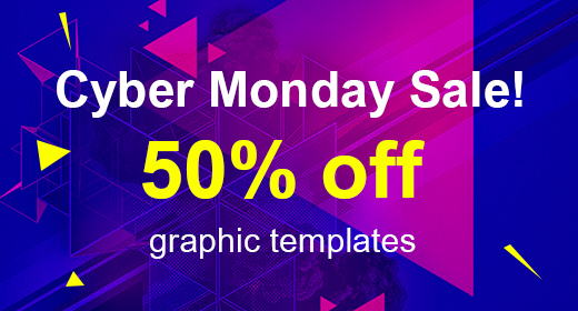 Cyber Monday Sale! 50% off graphic templates