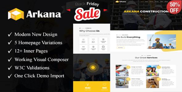 Arkana - One Page Construction WordPress Theme