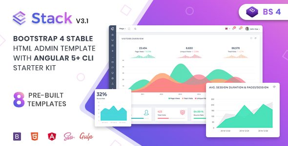 Stack - Bootstrap 4 Admin Template & Angular 5+ CLI Starter Kit - Admin Templates Site Templates