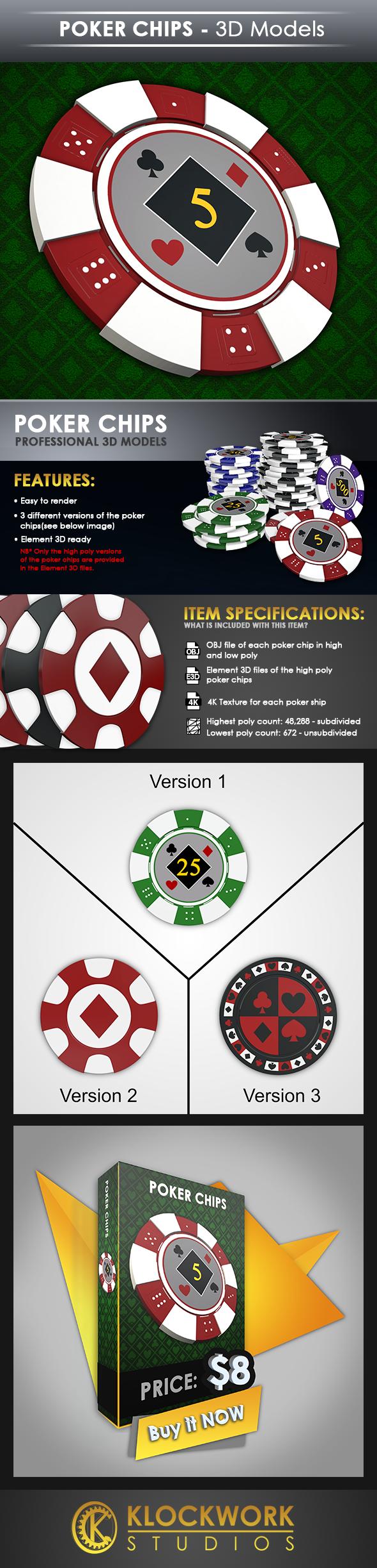 Poker Chips - 3DOcean Item for Sale