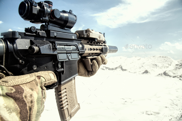 Airsoft assault rifle replica with optical sight - Stock Photo - Images