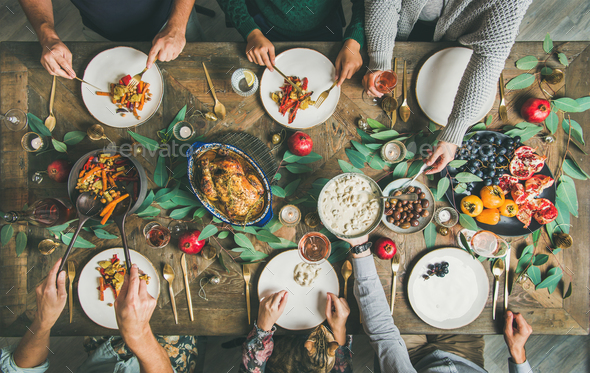 Traditional Christmas, New Year holiday celebration party dinner - Stock Photo - Images
