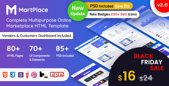 MartPlace - Multipurpose Online Marketplace HTML Template with Dashboard - Retail Site Templates