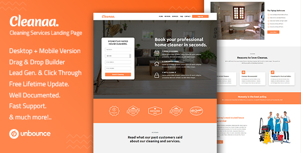 Cleanaa — Cleaning Services Unbounce Landing Page Template by Divine-Store