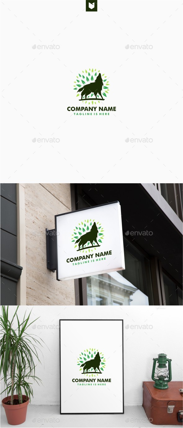Howling Wolf Leaf Logo - Animals Logo Templates