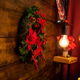 Christmas living room with beautiful christmas wreath on the wall - PhotoDune Item for Sale