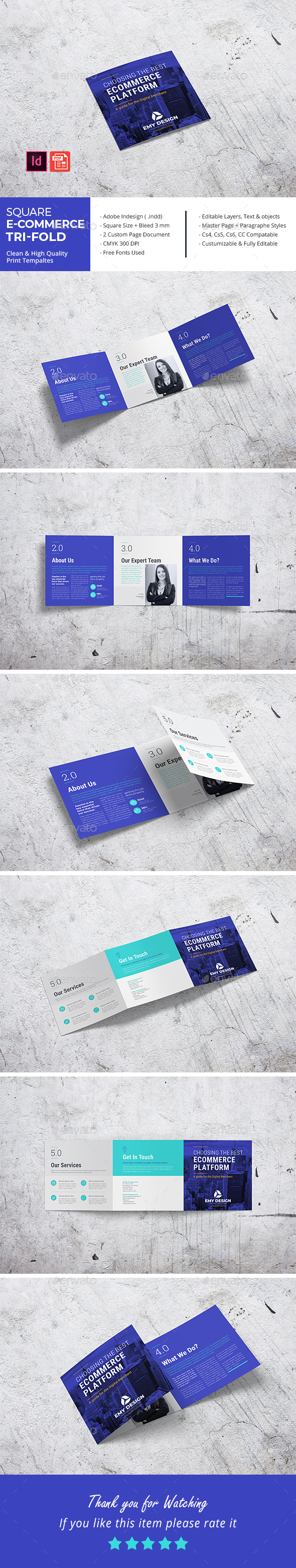 Square E-Commerce Business Tri-Fold