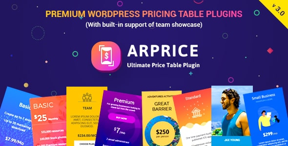 ARPrice - Responsive WordPress Pricing Table Plugin - CodeCanyon Item for Sale