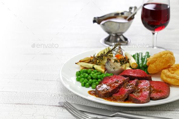 sunday roast dinner - Stock Photo - Images