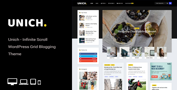 Unich - Infinite Scroll WordPress Blogging Food Recipes Theme