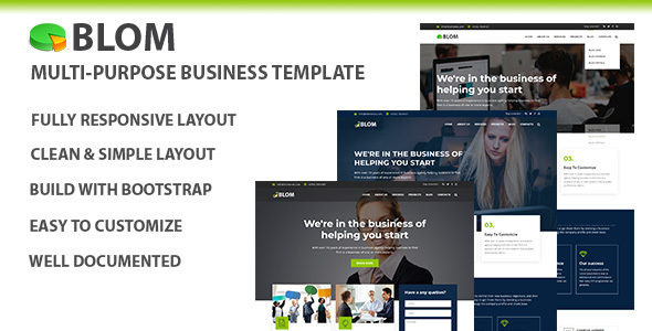 Blom Multi Purpose Business Template By Themevictory Themeforest