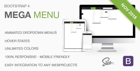 Bootstrap 4 Mega Menu - Responsive Dropdown Navbar - CodeCanyon Item for Sale