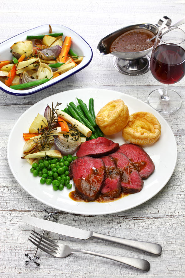 sunday roast dinner - Stock Photo - Images