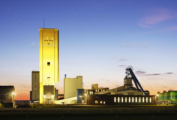 Salt Mine At Night - Stock Photo - Images