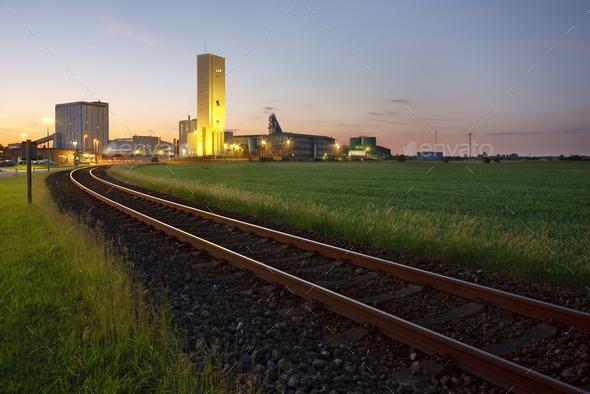 Railroad Track To Salt Mine At Dusk - Stock Photo - Images